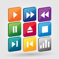 Vector media buttons set of Stock Image