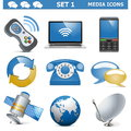 Vector media icons set on white background Stock Image