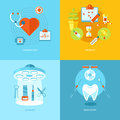 Vector medical and health icons set for web design mobile apps illustration cardiology therapy surgery dentistry Royalty Free Stock Photos