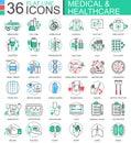 Vector medical healthcare medicine modern color flat line outline icons for apps and web design.