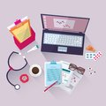 Vector Medical workplace. Flat design Royalty Free Stock Photo