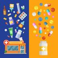 Vector medicines vertical banner templates with medicines and pills spreading out of pharmacy and bottle