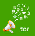 Vector Megaphone and icon. Back to school concept