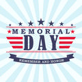 Vector Memorial Day background with stars, ribbon and lettering.