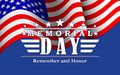 Vector Memorial Day background with stars, USA flag and lettering. Template for Memorial Day.