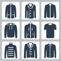 Vector men s clothes icons set puffer jacket and coat windbreaker hoodie jogging jacket t shirt sweater suit jacket and shirt Stock Photography