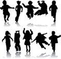Vector meninas e meninos da silhueta Fotografia de Stock Royalty Free