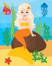 Vector Mermaid, Seal, Fish, Jellyfish and Starfish. Vector Underwater and Sea Life