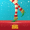 Vector merry christmas greeting card with cartoon elf hot girls legs, falling snow, lights and greeting calligraphic Royalty Free Stock Photo