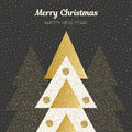 Vector merry Christmas and happy New Year design. Square card with Christmas trees in black, gold and white colors. Royalty Free Stock Photo