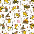 Vector Merry Christmas seamless pattern with hand drawn happy mice characters isolated.