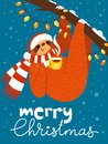 Vector Merry Christmas card with cute funny sloth with coffee cup