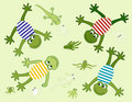 Vector with merry frogs Royalty Free Stock Photos