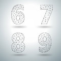 Vector mesh stylish alphabet letters numbers 6 7 8 9 Royalty Free Stock Photo