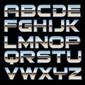 Vector metal font characterset of a style Royalty Free Stock Photography