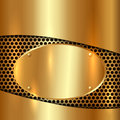 Vector metallic gold decorative background cells with oval plate Stock Photos