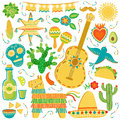 Vector Mexico icon set. Mexican illustration isolated on white
