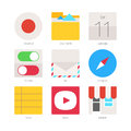Flat design vector mobile apps concept with web icons