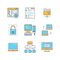 Vector minimal lineart computers and programming iconset Royalty Free Stock Photo