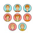 Vector minimal lineart flat avatars iconset Royalty Free Stock Photo