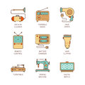 Vector minimal lineart flat household iconset Royalty Free Stock Photo