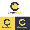 Vector minimalistic C letter space logo Royalty Free Stock Photo