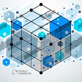Vector minimalistic geometric abstract 3D blue composition in fu