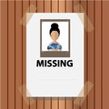Vector missing announce on wood background the woman wall brown Royalty Free Stock Photos