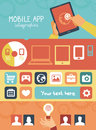 Vector mobile app infographics in flat style concept development with social media and technology icons Stock Image