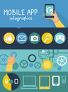 Vector mobile app infographics in flat style concept development with social media and technology icons Stock Images
