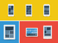 Vector mobile devices set illustration of abstract simplistic user interface layout on different isolated on yellow blue and red Royalty Free Stock Photo