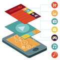 Vector mobile phone infographic elements with interface screens design in flat retro style Royalty Free Stock Photos
