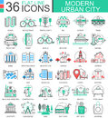 Vector Modern city color flat line outline icons for apps and web design. Urban city elements. Royalty Free Stock Photo