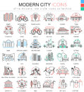 Vector Modern city color flat line outline icons for apps and web design. Urban smart city elements icons. Royalty Free Stock Photo