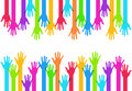 Vector modern colorful hands background creative template Royalty Free Stock Image