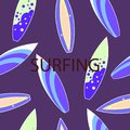 Vector modern colorful surf boards, seamless pattern, Royalty Free Stock Photo