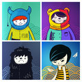 Vector modern funny characters hipsters Royalty Free Stock Photos