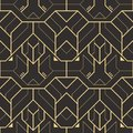 Vector modern geometric tiles pattern. golden lined shape. Abstract seamless luxury background