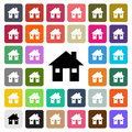 Vector modern House flat design icon set in button