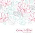 Vector modern line art florals horizontal border Royalty Free Stock Photo