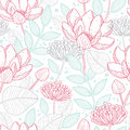Vector modern line art florals seamless pattern Royalty Free Stock Photo