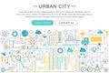 Vector modern line flat design Urban city concept. Royalty Free Stock Photo