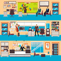 Vector modern office workspace set in flat style