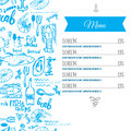 Vector modern seafood menu design. Hand drawn seafood menu. Great for menu flyer, card, seafood menu business promotion. Royalty Free Stock Photo