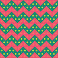 Vector modern seamless colorful geometry chevron lines pattern, color pink green, abstract Royalty Free Stock Photo