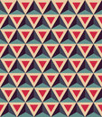 Vector modern seamless colorful geometry pattern, 3D triangles, color red blue, abstract Royalty Free Stock Photo
