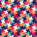 Vector modern seamless colorful geometry puzzle pattern, color abstract Royalty Free Stock Photo