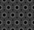 Vector modern seamless geometry pattern circles concentric, black and white abstract Royalty Free Stock Photo