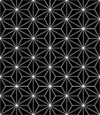 Vector modern seamless sacred geometry pattern, black and white abstract Royalty Free Stock Photo