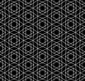 Vector modern seamless sacred geometry pattern david star, black and white abstract
